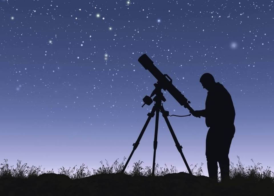Man with telescope again starry night sky
