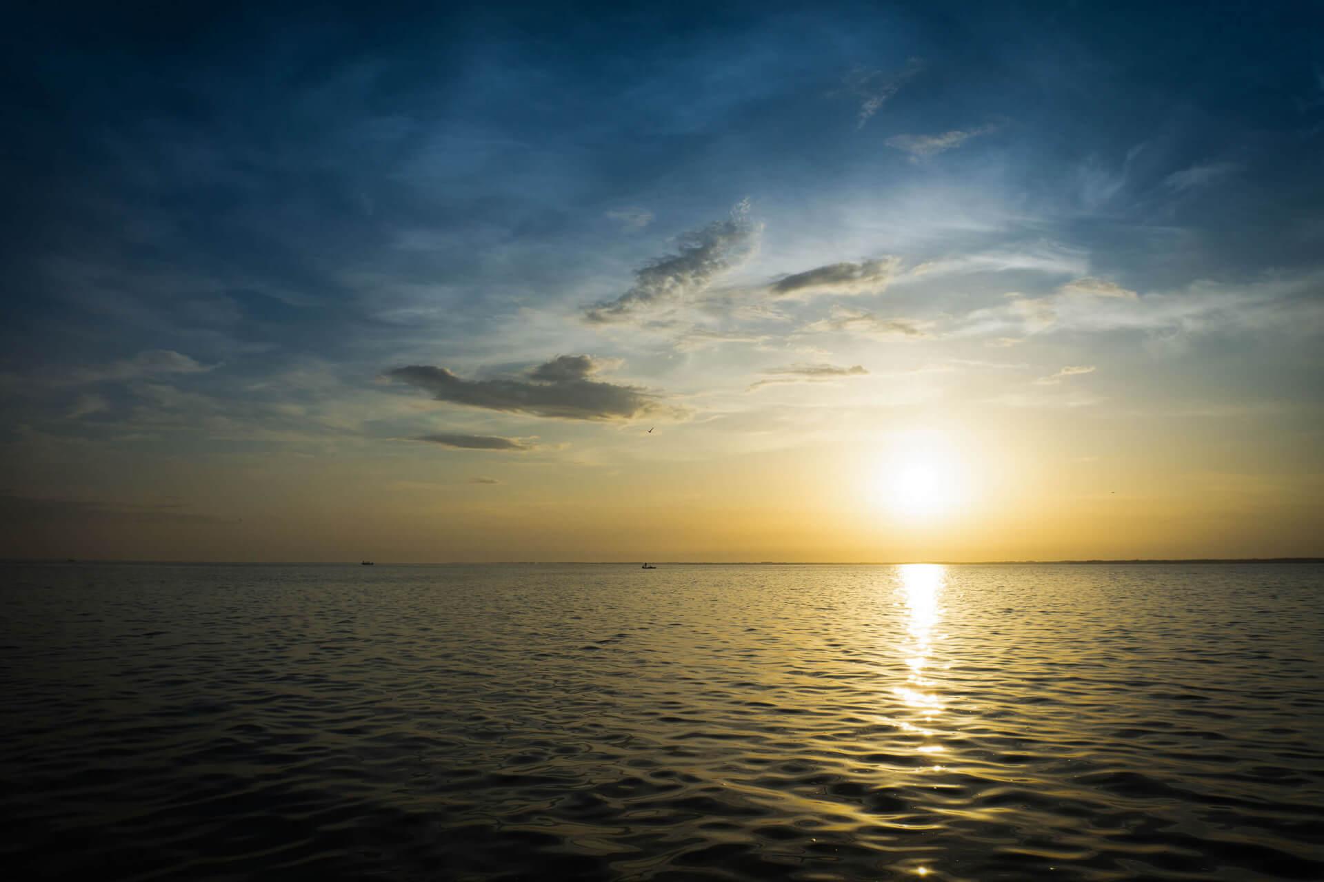 sunset on the open ocean